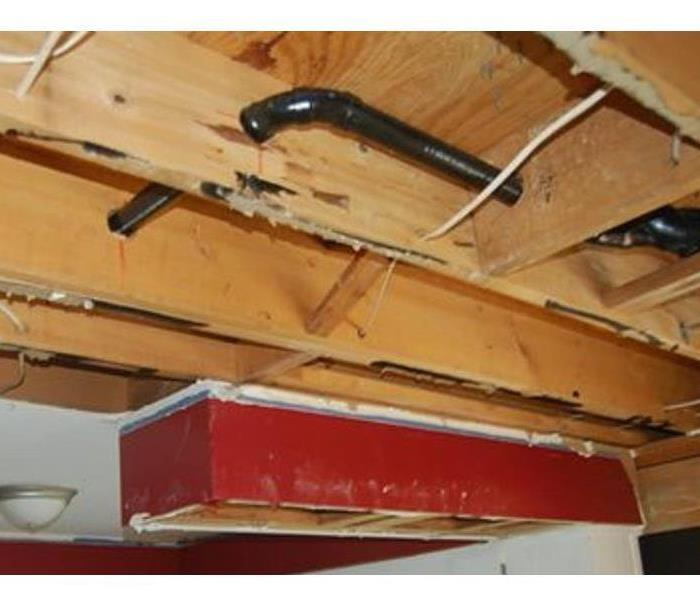 clean and dry ceiling with exposed framing